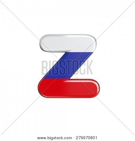 Russia flag 3d character Z isolated on white background. This font collection is well-suited for various projects related but not limited to Russia, politics, economics...