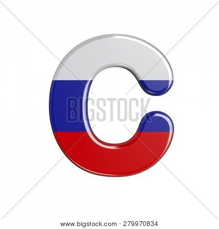 3d Russia font C isolated on white background. This font collection is well-suited for various projects related but not limited to Russia, politics, economics...
