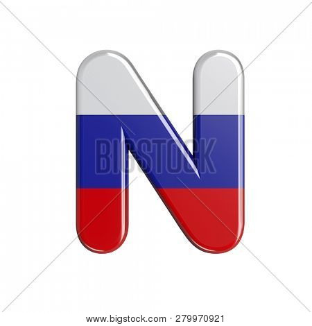 Russia flag font N isolated on white background. This font collection is well-suited for various projects related but not limited to Russia, politics, economics...