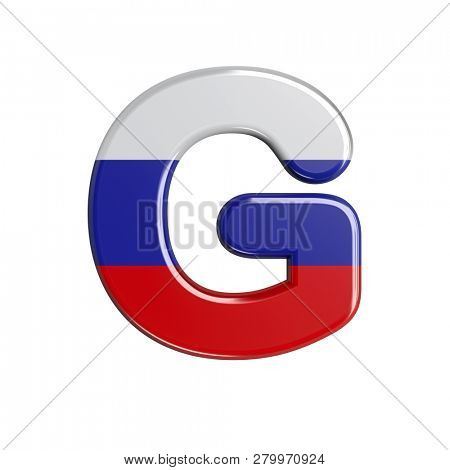 Upper-case Russia character G isolated on white background. This font collection is well-suited for various projects related but not limited to Russia, politics, economics...