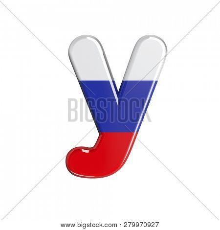 Lowercase Russia flag character Y isolated on white background. This font collection is well-suited for various projects related but not limited to Russia, politics, economics...