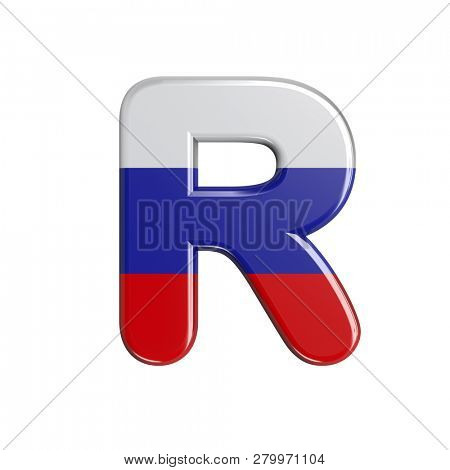 Russia flag letter R isolated on white background. This font collection is well-suited for various projects related but not limited to Russia, politics, economics...