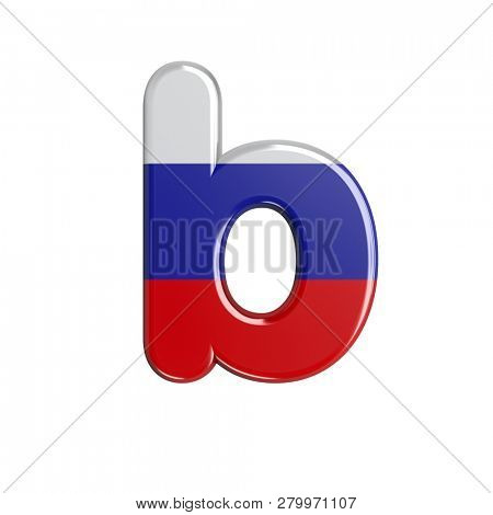 3d Lower-case character B covered in Russia flag texture . This font collection is well-suited for various projects related but not limited to Russia, politics, economics...