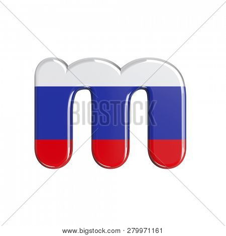 Russia flag 3d font M isolated on white background. This font collection is well-suited for various projects related but not limited to Russia, politics, economics...