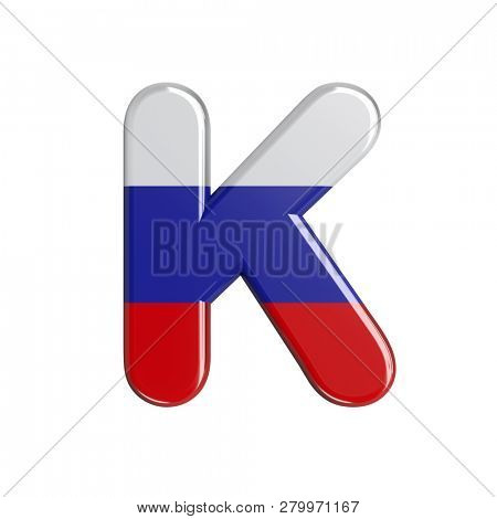 Uppercase Russia letter K isolated on white background. This font collection is well-suited for various projects related but not limited to Russia, politics, economics...
