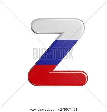 Russia flag letter Z isolated on white background. This font collection is well-suited for various projects related but not limited to Russia, politics, economics...