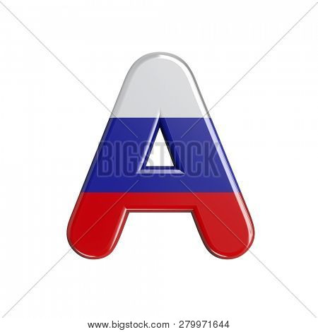 Russia letter A isolated on white background. This font collection is well-suited for various projects related but not limited to Russia, politics, economics...