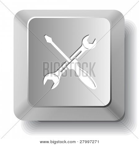 Screwdriver and spanner. Vector computer key.