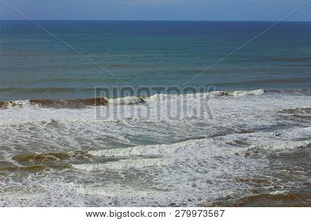 Waves Rolling In At A Beach In Pacifica, California, In The San Francisco Bay Area