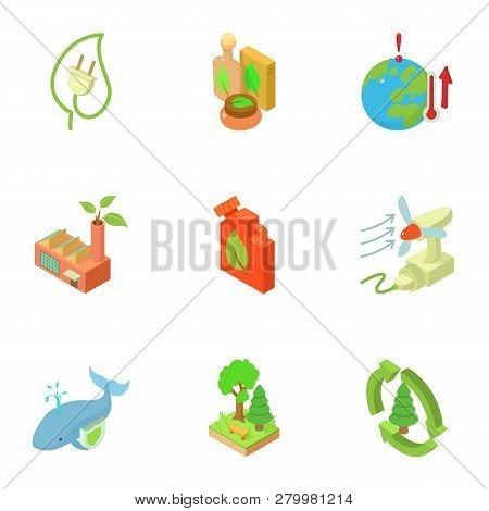 Ecological Compatibility Renewal Icons Set. Isometric Set Of 9 Ecological Compatibility Renewal Icon