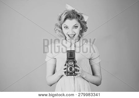 Family Portrait, Old Fashion, Journalism, Pinup. Retro Woman Hold Photo Camera. Retro Woman With Vin
