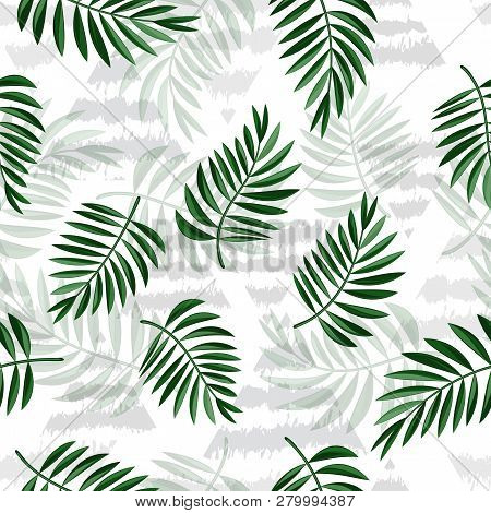 Tropical Leaves And Triangles On Light Background. Tropical Palm Leaves, Jungle Leaves Seamless Vect