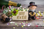 chimney sweeper with confetti Happy New Year, New Years Eve Greeting Card poster