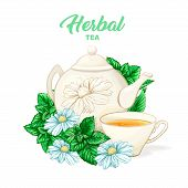 Herbal tea hand drawn color illustration. Ceramic teapot, porcelain cup, camomile flower, mint, teatime watercolor drawing. Isolated organic tea herbs packaging design concept. poster
