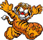 Smiling Tiger Running with hands Mascot Vector Illustration poster
