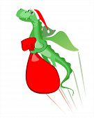 vector illustration of flying dragon with a bag of gifts poster