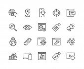 Simple Set of SEO Related Vector Line Icons. Contains such Icons as Target, Watch List, Website Stats and more. Editable Stroke. 48x48 Pixel Perfect. poster