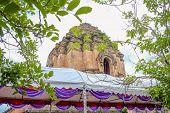 Ancient sanctuary of Wat Wat Chedi luang temple at Chiang mai City Thailand. poster
