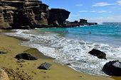 Green sand olivine beach, Big Island of Hawaii, USA poster
