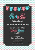 Gender reveal invitation template, baby shower party. poster