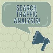 Conceptual hand writing showing Search Traffic Analysis. Business photo text network bandwidth monitoring software or application Megaphone and Rectangular Color Speech Bubble with Reflection. poster