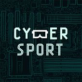 Cybersport text icon with virtual reality glasses B on circuit board background poster