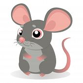 Lonely Gentle Mouse. Fancy Little Mice Vector Illustration. Cute Sitting Mouse In Cartoon Style. Grey Mice On A White Background. poster