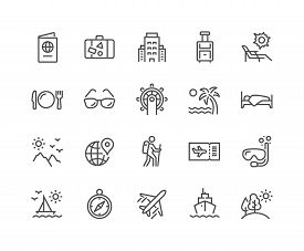 Simple Set Of Travel Related Vector Line Icons. Contains Such Icons As Luggage, Passport, Sunglasses