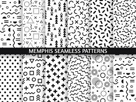 Memphis Seamless Patterns. Funky Pattern, Retro Fashion 80s And 90s Print Pattern Texture. Geometric