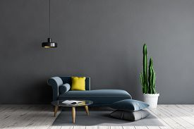 Interior Of Living Room With Gray Walls, Tiled Floor, Long Blue Sofa Standing Near White Coffee Tabl