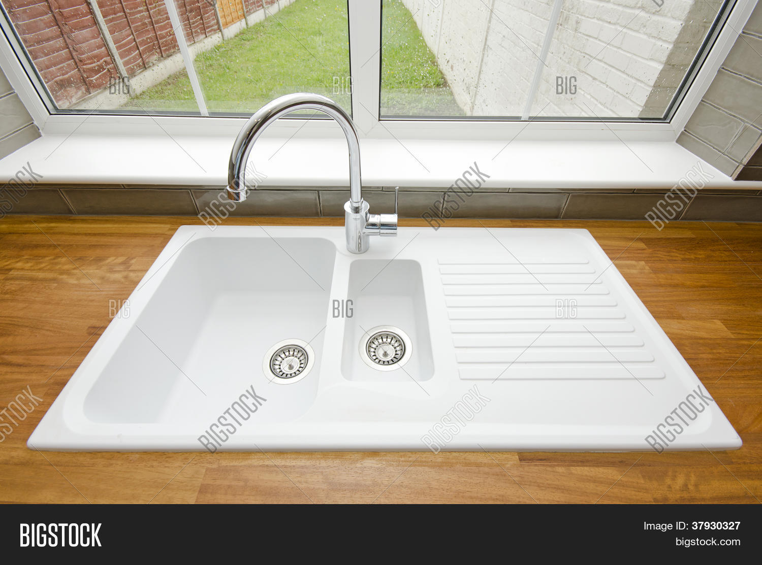 White Ceramic Kitchen Sink Solid Image & Photo | Bigstock