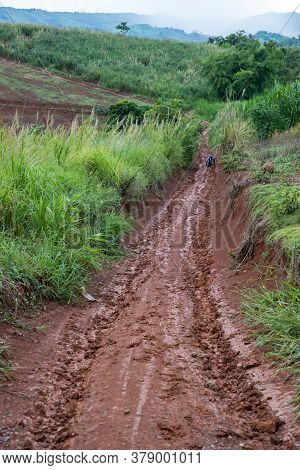 Muddy Road With Adventure To The Forest In Rainy Season. Off Road Track. The Road Was Filled With Mu