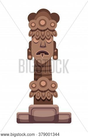 Tribe Pagan God Religious Idol Statue On White. Ancient Native Deity For Ritual Made From Stone Or W