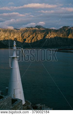 A White Metal Lighthouse In The Verige Strait, In The Bay Of Kotor In Montenegro.
