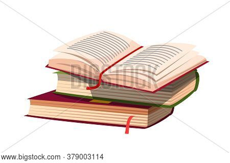 Paper Book Pile With Open One And Bookmark. Literature And Wisdom. Knowledge And Education. Writing