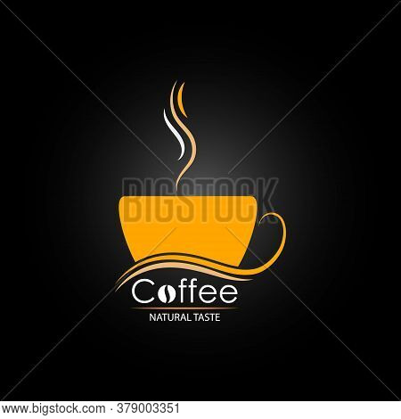 Cup Of Hot Coffee With The Inscription Natural Taste. Vector Illustration For Websites And Apps