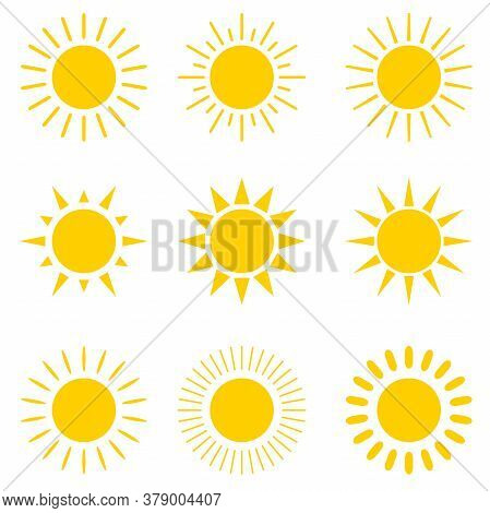 Vector Set Of Different Suns. Suns With Different Rays. Vector Illustration