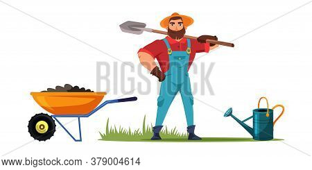 Farmer Holding Shovel Standing. Gardener With Tool. Man Ready To Dig Ground. Wheelbarrow Filled With
