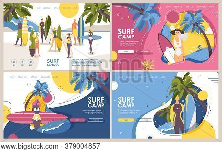 Surf Camp Or Surfing School Banners Or Landing Page Templates In Vibrant Colors. Flat Cartoon Surfer