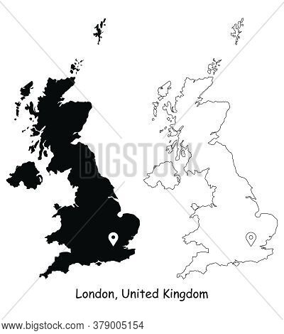 London, United Kingdom. Detailed Country Map With Location Pin On Capital City. Black Silhouette And