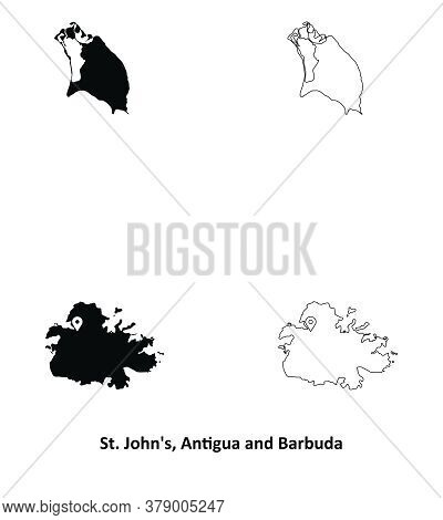 St John's, Antigua And Barbuda. Detailed Country Map With Capital City Location Pin. Black Silhouett