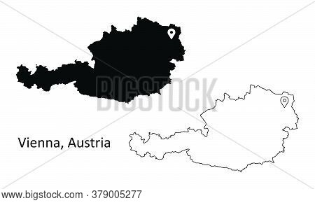 Vienna Austria. Detailed Country Map With Capital City Location Pin. Black Silhouette And Outline Ma