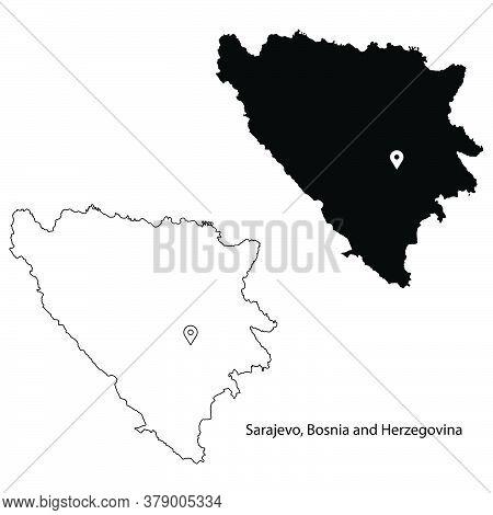 Sarajevo Bosnia And Herzegovina. Detailed Country Map With Location Pin On Capital City. Black Silho