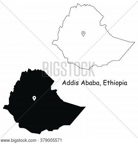 Addis Ababa Ethiopia. Detailed Country Map With Location Pin On Capital City. Black Silhouette And O