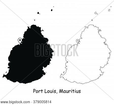 Port Louis Mauritius. Detailed Country Map With Location Pin On Capital City. Black Silhouette And O