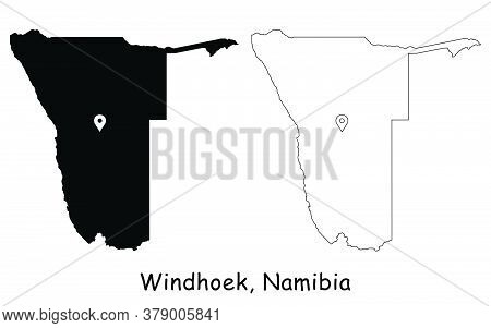 Windhoek, Namibia. Detailed Country Map With Location Pin On Capital City. Black Silhouette And Outl