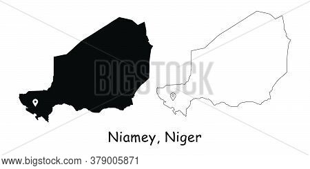 Niamey, Niger. Detailed Country Map With Location Pin On Capital City. Black Silhouette And Outline