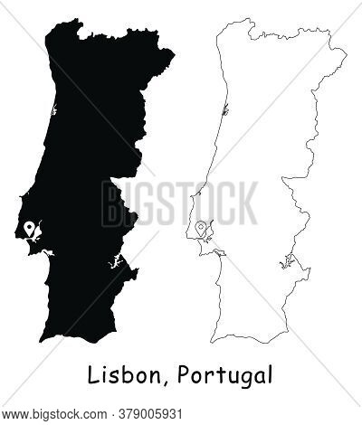 Lisbon, Portugal. Detailed Country Map With Location Pin On Capital City. Black Silhouette And Outli