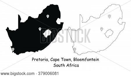 Three Capital Cities Of The Republic Of South Africa. Pretoria, Cape Town, And Bloemfontein. Detaile