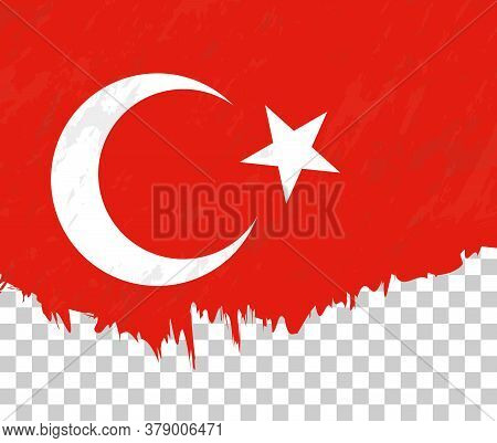 Grunge-style Flag Of Turkey On A Transparent Background. Vector Textured Flag Of Turkey For Vertical